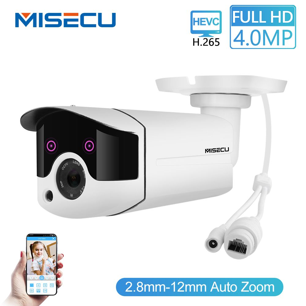 MISECU H.265/H.264 4.0MP Zoom motorisé 48 V POE WDR IP Cam 2.0MP tableau nuit IR détection de mouvement RTSP étanche Surveillance CCTV