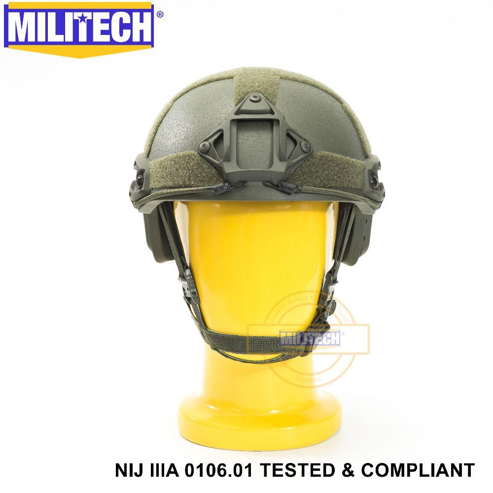 ISO Certified MILITECH OD OCC Dial NIJ Level IIIA 3A FAST High Cut Bulletproof Aramid Ballistic Helmet With 5 Years Warranty