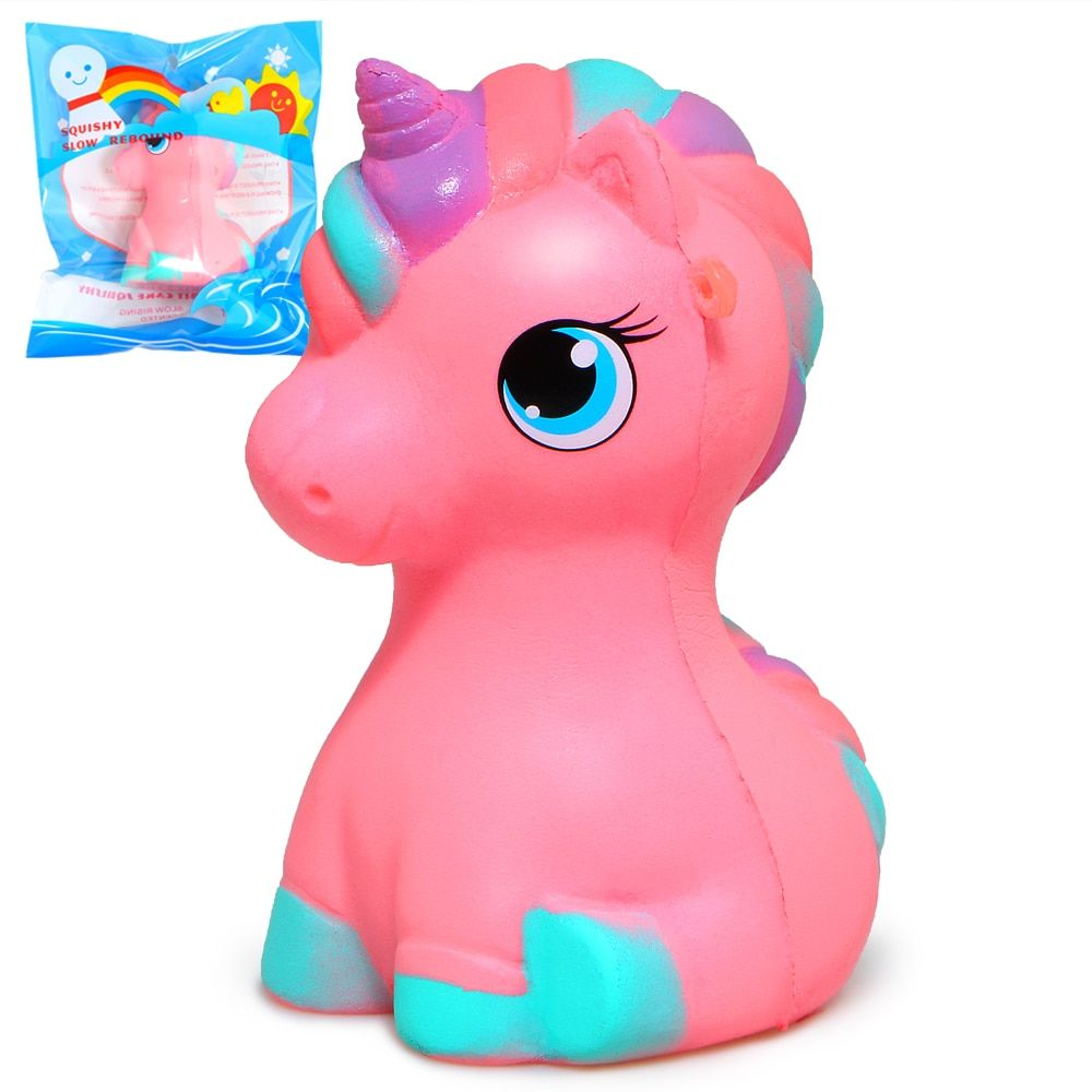 Jumbo Unicorn/Horse Squishy Cute Rainbow Squishies Slow Rising Phone Strap Pendant Cream Scented Kid Toys