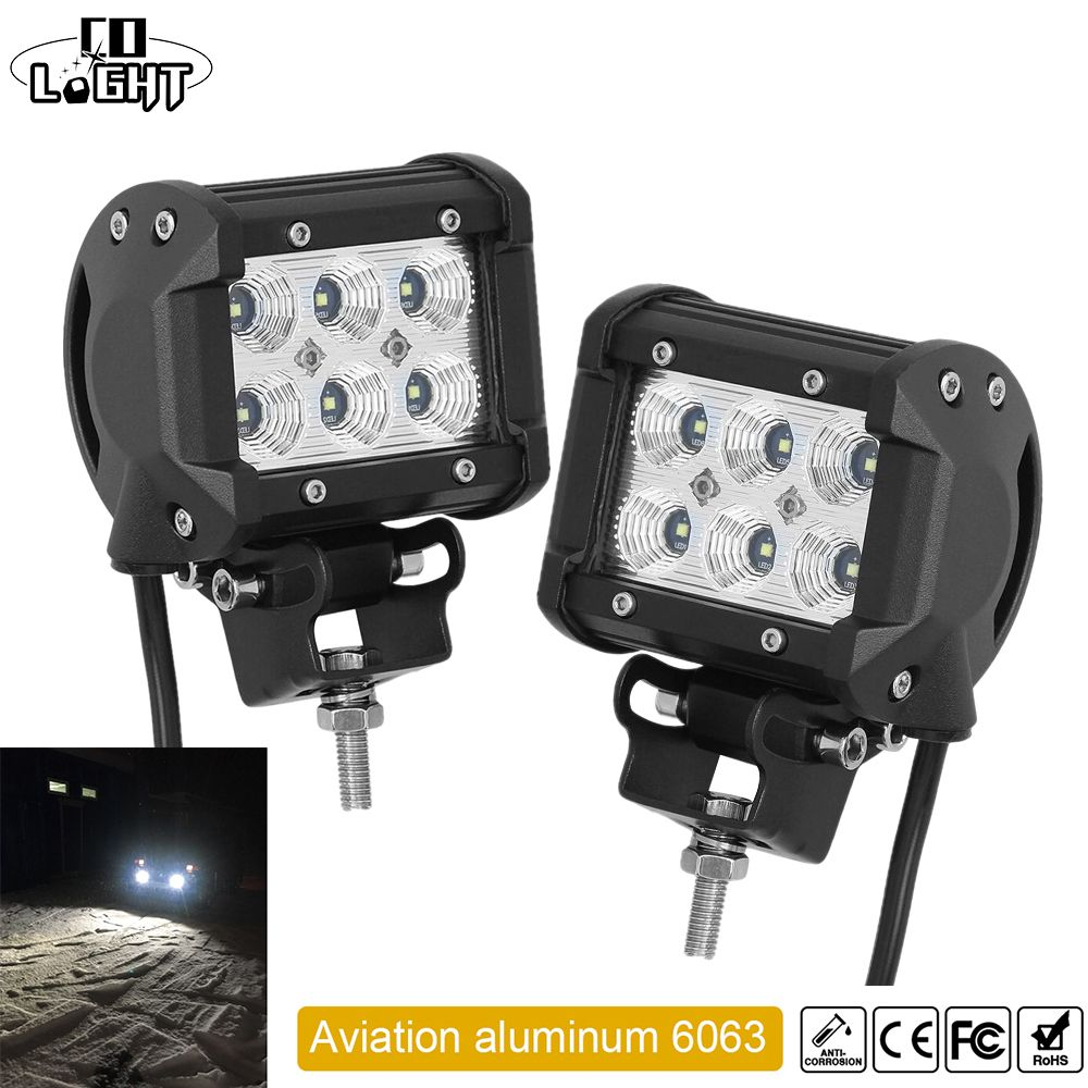 CO LIGHT 1 Pair Led Drl 18W 4'' Spot Flood Led Working Lights 12V 24V for Offroad Lada Niva Uaz Tractor Audi Mazda Jeep Trucks
