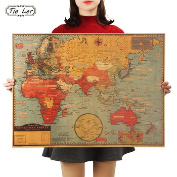 TIE LER Large World Geography Map Wall Sticker Art Bedroom Home Decoration Wall Sticker Poster 70X51.5cm