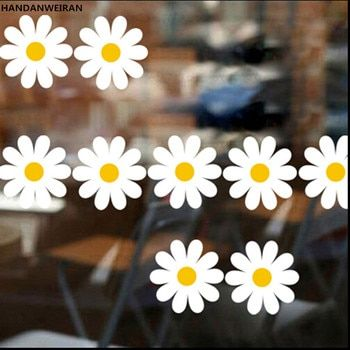 1 sets=11pcs Home decor floral wall stickers DIY small flower FOR living room decoration lovely daisy stickers small size 57*5cm