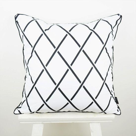 45*45 cm décoratif jeter taie d'oreiller noir blanc abstrait géométrie diamant housse de coussin taie d'oreiller pour canapé capa de almofada