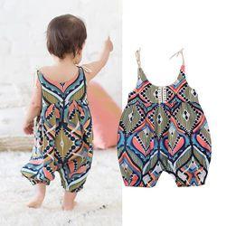 2018 NEW Newborn Infant Baby Girls Sleeveless Floral Stripe Boho Haren Romper Pants Summer Floral Clothing