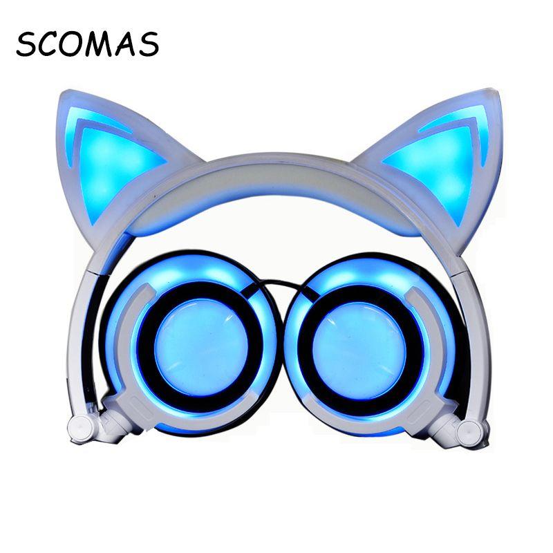 SCOMAS Chargable Casque Headfone pour Filles Rougeoyant Oreille Casque Filaire pour PC Mobile Casque Écouteurs pour La Musique Sport