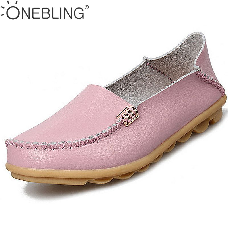 Summer Candy Colors Genuine Leather Women Casual Shoes 2017 Fashion Breathable Slip-on Peas Massage Flat Shoes Plus Size 35-44