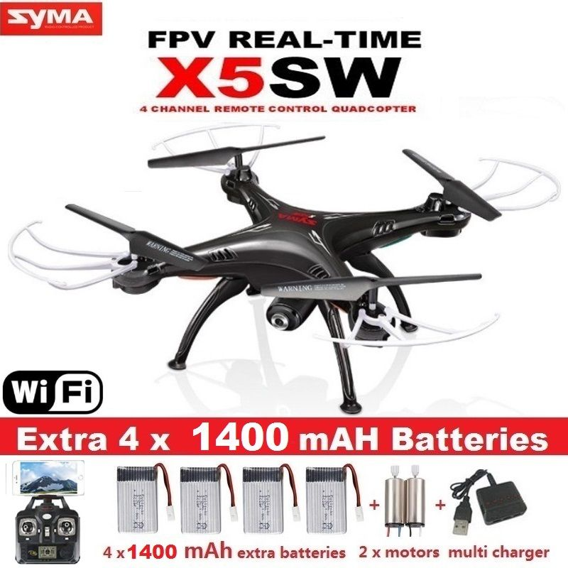 <font><b>SYMA</b></font> X5SW FPV Drone X5C Upgrade WiFi Camera Real Time Video RC Quadcopter 2.4G 6-Axis Quadrocopter With 5 Battery