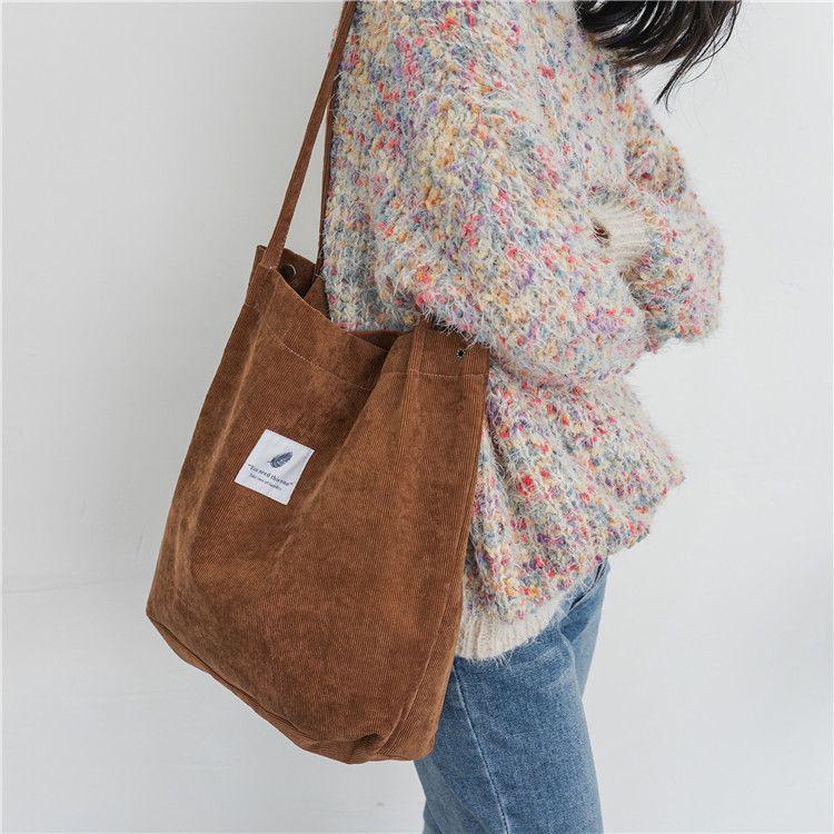 2018 Women Corduroy Canvas Tote Ladies Casual Shoulder Bag Foldable Shopping Bags Beach Bag Cotton Cloth Female Handbag