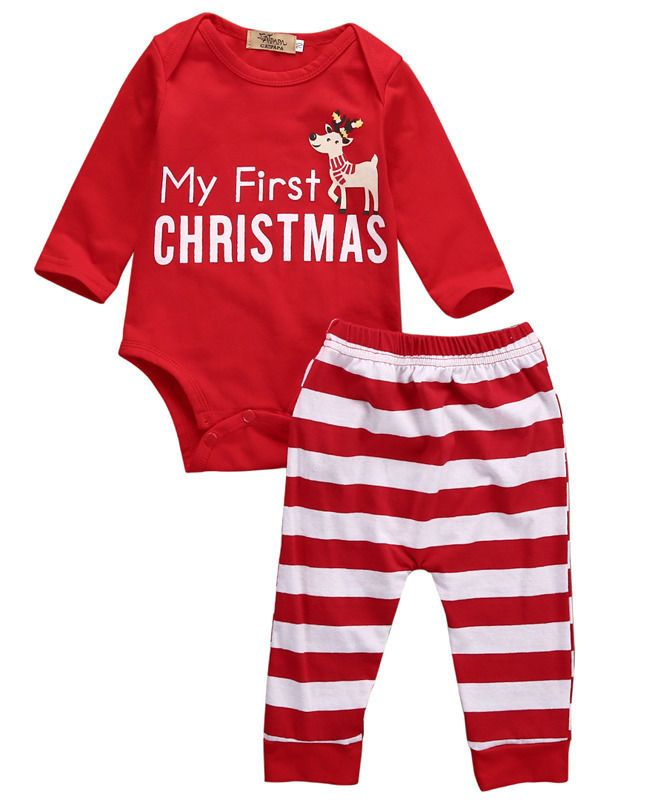 2016 2pcs My First Christmas Newborn Baby Girls Boys Long Sleeve Romper + Striped Pants Cartoon Baby Sets Cotton Clothing 0-18M