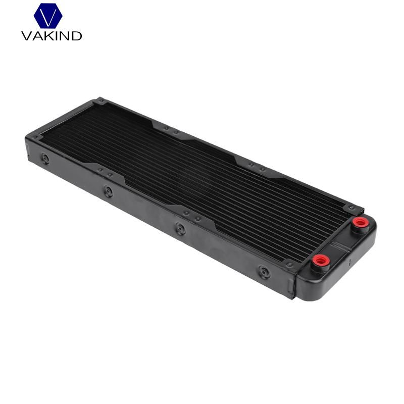 VAKIND Black 360mm 18 Tube Computer Water Cooling Radiator Straight Thread Heat Sink With G1/4 Thread For PC Computer Laptop