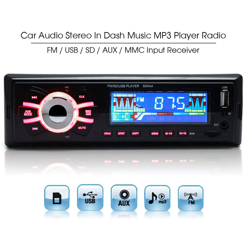 12V Stereo Car Radio Auto MP3 Audio Playback Player Support USB SD AUX + Remote Control
