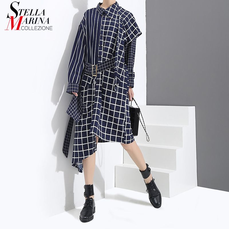 New 2018 Autumn Winter Women Blue Black Asymmetrical Plaid Dress With Sashes Long Sleeve Lady Stylish Cute Wear Dress Style 3209