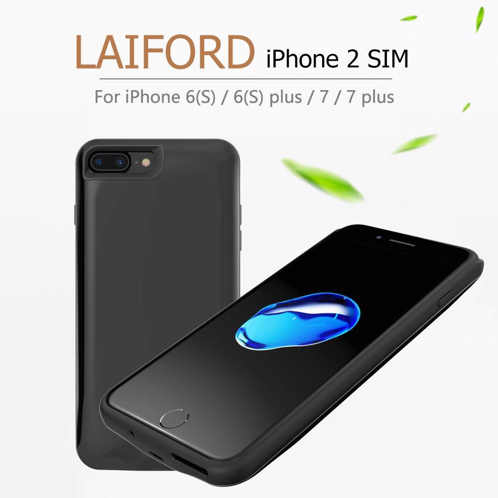 LAIFORD double SIM double veille housses pour iPhone6/6 plus coque de téléphone en caoutchouc Ultra-mince batterie de Clip arrière 1500/2500 mAh batterie externe