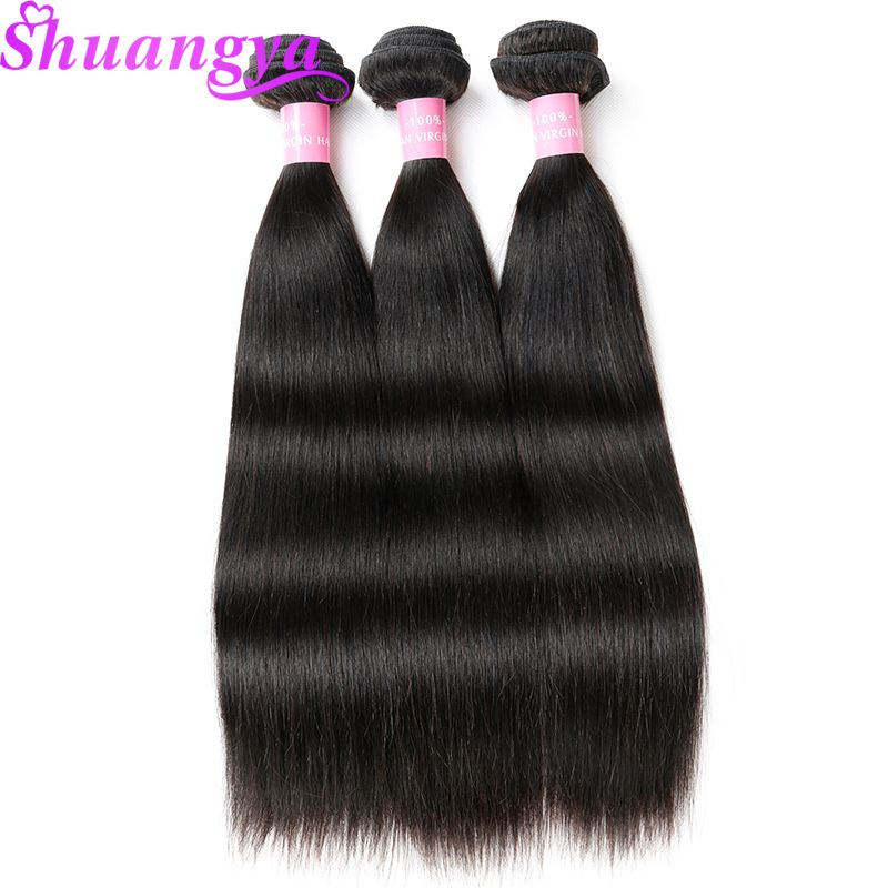 Brazilian Remy Hair 3 Bundles Deals Straight Hair Weave Bundles 100% Human Hair Extensions Natural Color Shuangya Hair Weave