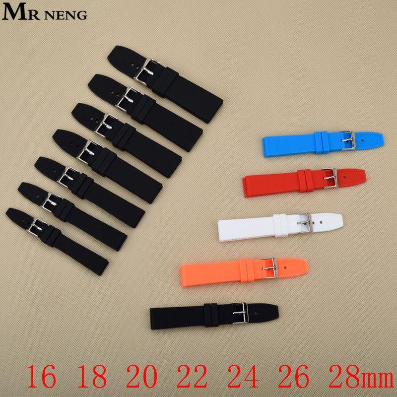 Noir Hommes de Bracelet En Caoutchouc, 16 MM 18 MM 20 MM 22 MM 24 MM 26 MM 28 MM Étanche Silicone Pin Boucle Bracelets, montres Accessoires