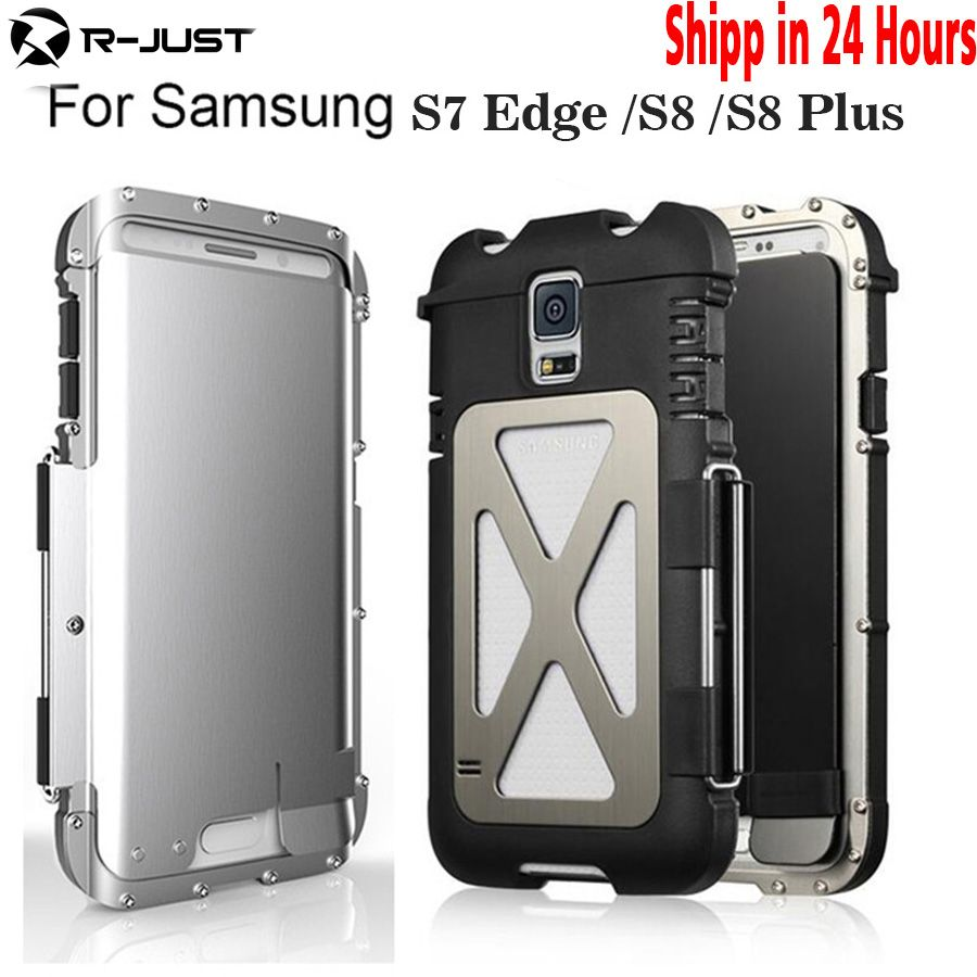 For note 8 Original R-JUST Flip Case Iron Man Shockproof Metal Aluminum Anti-knock Case Back Cover for Samsung Galaxy S8 S7edge
