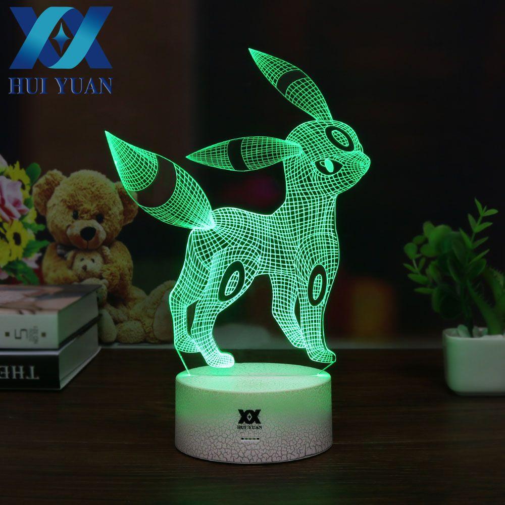 HUI YUAN Umbreon 3D Lamp New Pokemom RGB Changeable Mood Lamp 7 Color Light Base Cool Night Light for Christmas Holiday  Gift