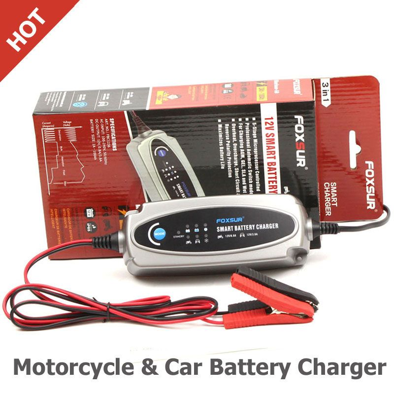 FOXSUR 12V Motorcycle & Car Battery Charger,12V Lead Acid Battery Charger For SLA,AGM,GEL,VRLA,Mariner-50 smart battery charger