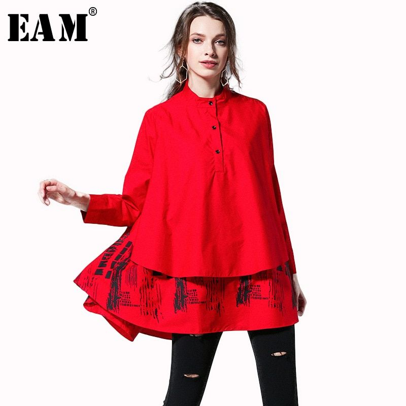 [EAM] 2018 New Autumn Summer Solid Colour Printed Blouse Long Sleeve Spliced Stand Big Size Loose Woman Shirt S05600L