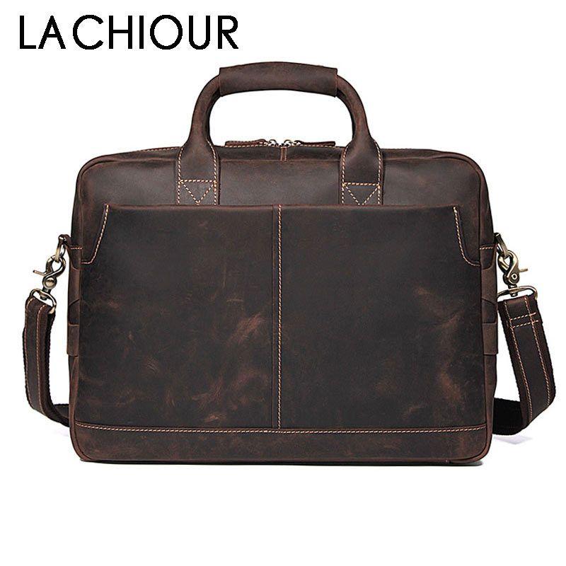 LACHIOUR Crazy Horse Leder Mann Tasche Handtasche herren Taschen Neue männer Messenger Bags Casual Männlichen Schulter Laptop Aktentasche