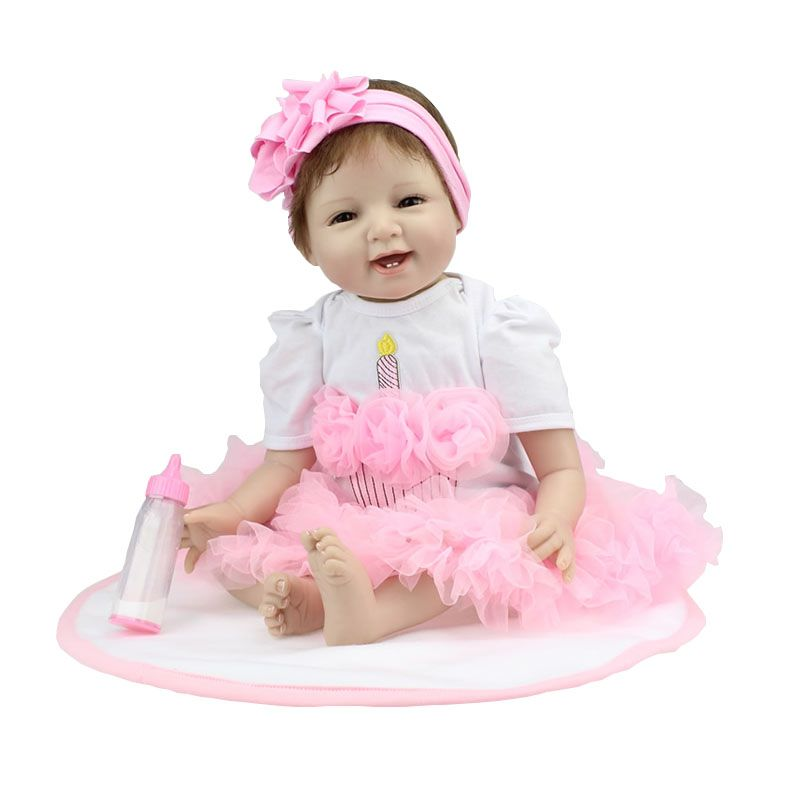 22 inch 55cm silicone reborn baby dolls life-like reborn dolls simulation baby juguete bebe reborn little girl