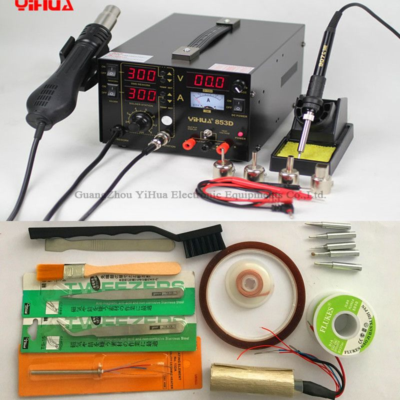 110V/220V EU/US PLUG YIHUA 853D 3in1 Dual-Display Rework soldering rework Hot Air Gun + Soldering Iron with Free Gift