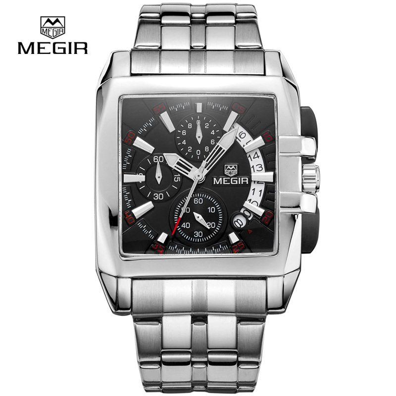 Megir business men quartz watches fashion brand chronograph wristwatch for man steel <font><b>band</b></font> for male with calendar 2018 new