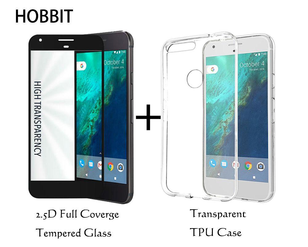 Pour Google Pixel Transparent TPU étui de couverture arrière et 2.5D couverture pleine couverture en verre trempé protecteur d'écran pour Pixel XL