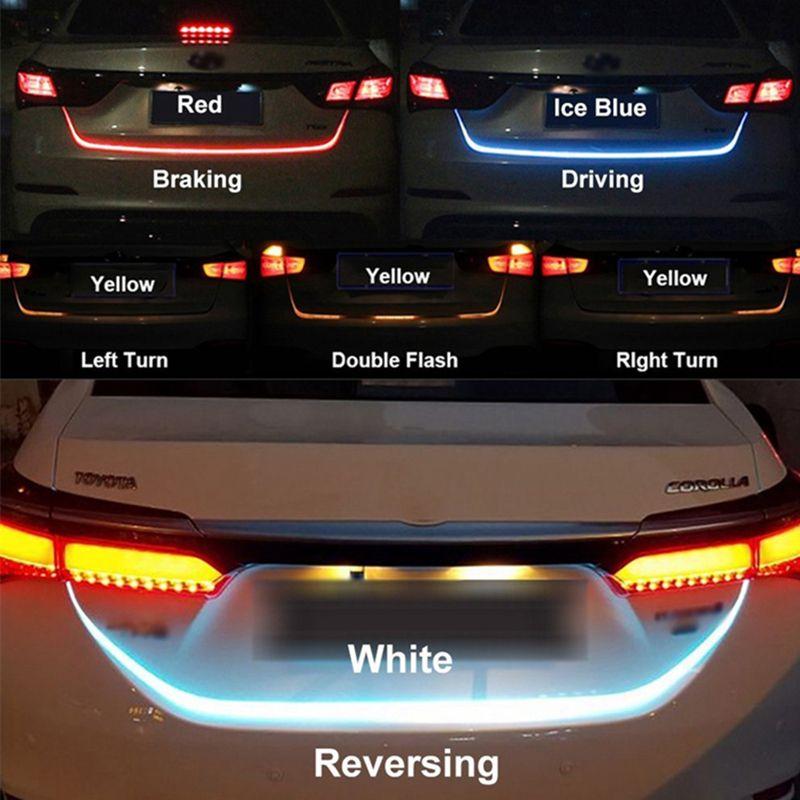 OKEEN RGB RED Yellow White Rear Tail LED trunk strip light Turn Signal Dynamic Streamer Brake Turn Signal Reverse Leds Tailgate