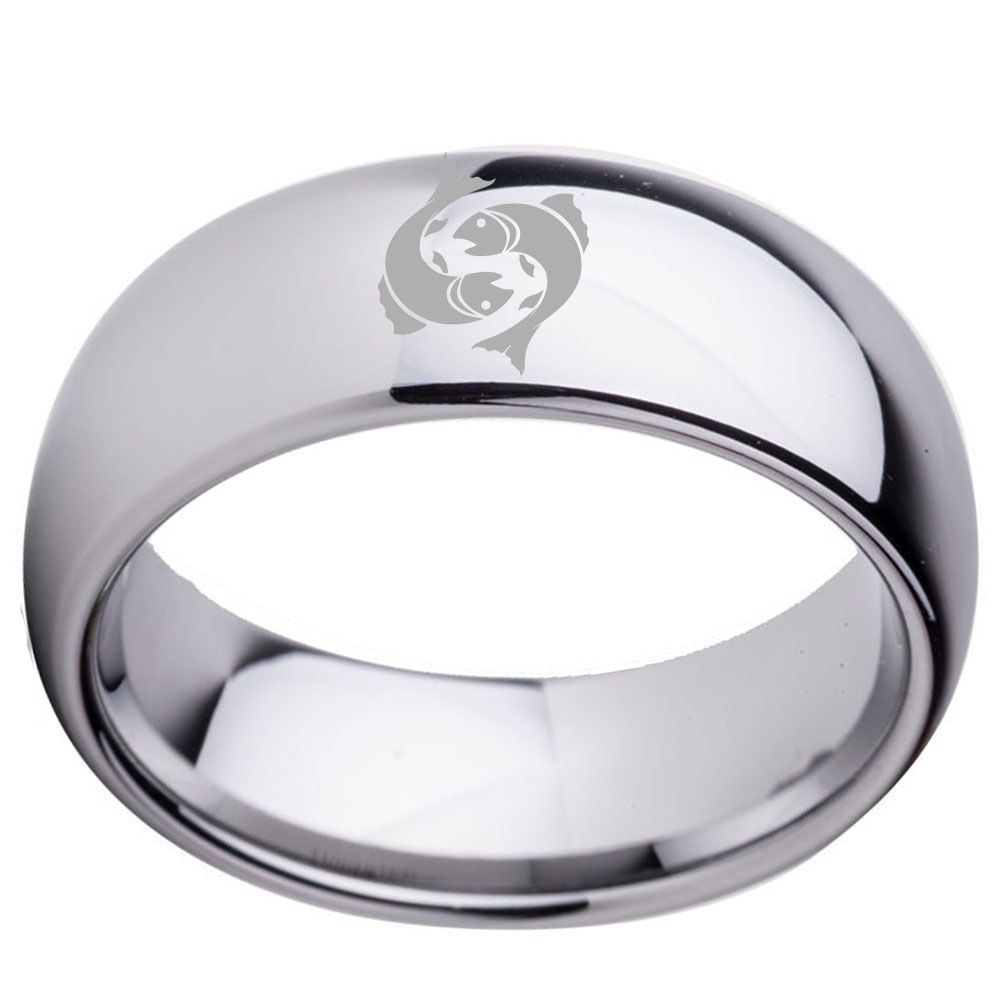 Custom Pisces 8mm Tungsten Constellation Ring for Men Boy Anniversary Day & Name Free Engrave