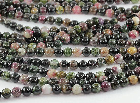 Tourmaline Tourmaline naturelle 100% AA4, 6, 8,10mm de haute qualité. Perles rondes lisses, perles en pierre naturelle pour bijoux 1 chaîne