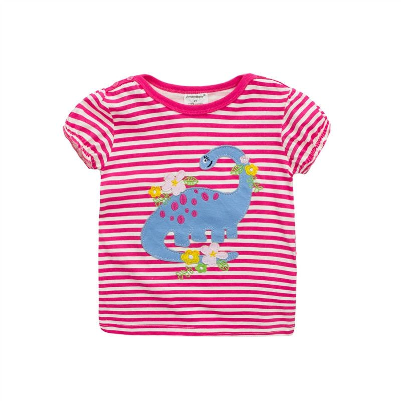 Jumping Girls Summer T shirts Brand Jumping Baby applique dinosaur striped fashion hot selling children clothes kids tees 18M-6T