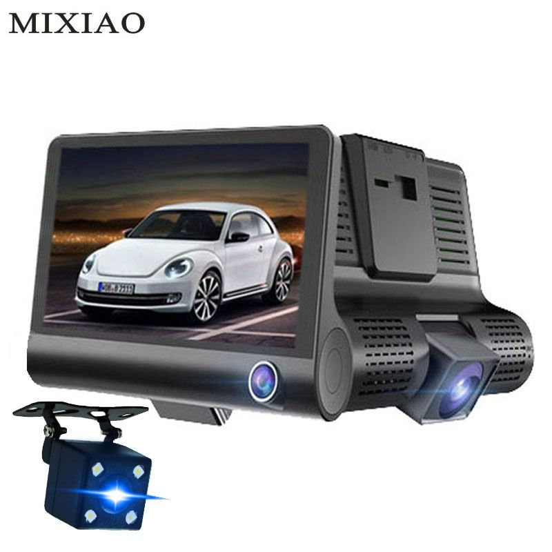 3 Way Car DVR Camera Video Recorder Rear View Auto Registrator With Two Cameras Dash Cam DVRS 4.0 inch Night vision Camcorder