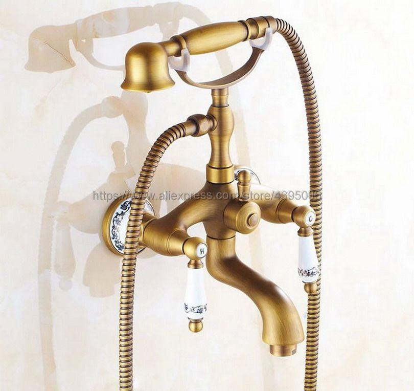 Antike Messing Wand Montiert Badezimmer Dusche Wasserhahn Telefon Bad Armaturen mit Hand Dusche Tap Btf311