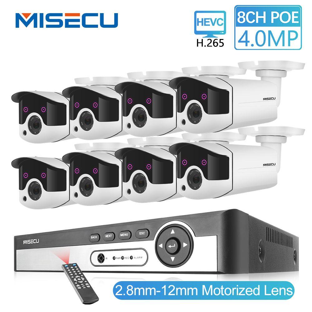 MISECU H.265 8CH 4MP CCTV Kamera System POE NVR Kit 2,8-12mm Zoom Im Freien Wasserdichte 4MP POE IP kamera P2P Sicherheit Überwachung