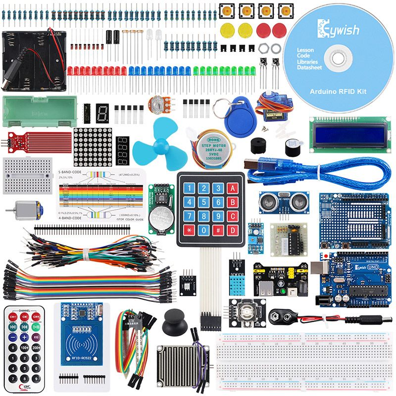 Keywish RFID Complete Sensor Super Starter Kit For Arduino UNO R3 Water-level Servo/Stepper Motor With 28 Lessons Code Tutorial