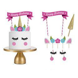 1set Handmade Pink Unicorn Party Cake Topper Wedding Cupcake Decoration Happy Birthday Party Supplies Baby Children Party Decor
