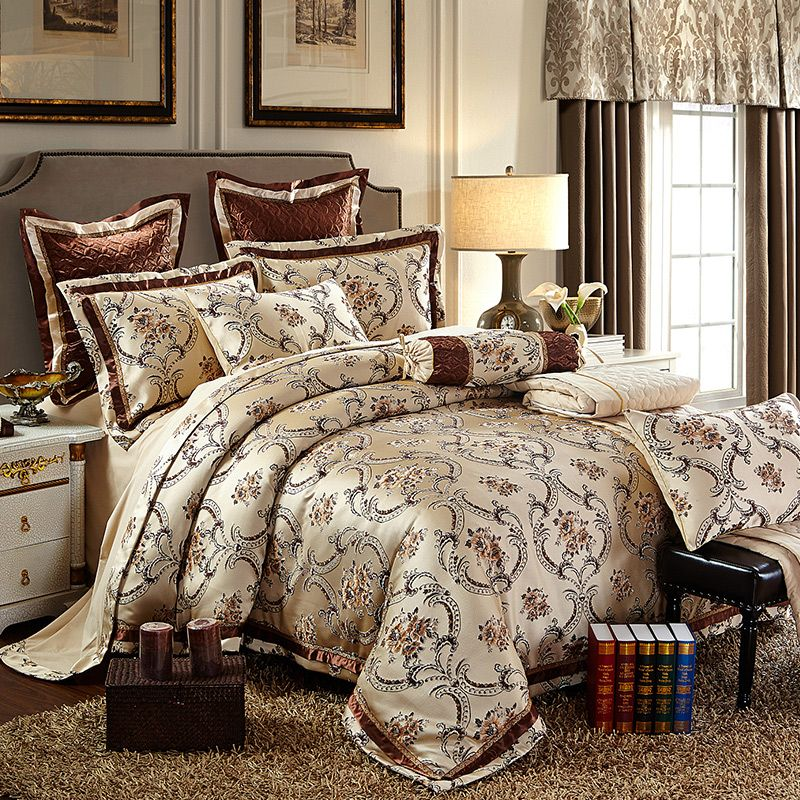 Cotton Stain Jacquard Luxury Wedding Bedding set 4/6Pcs Kits King Queen size Duvet cover Thick Cotton Bedspread set Pillow shams