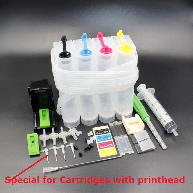 XIMO bricolage CISS pour imprimantes 4 couleurs, avec courbure de tube d'encre, aiguille, perceuse et outil d'aspiration et tous les accessoires
