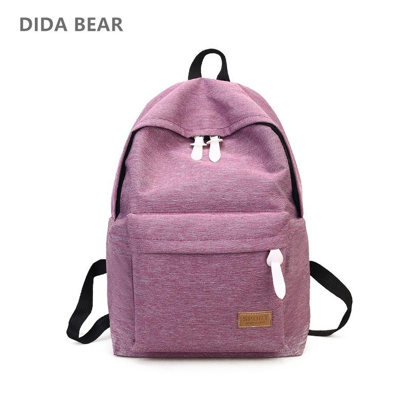 DIDA BEAR 2018 Women Canvas Backpacks Ladies Shoulder <font><b>School</b></font> Bag Rucksack For Girls Travel Fashion Bag Bolsas Mochilas Sac A Dos