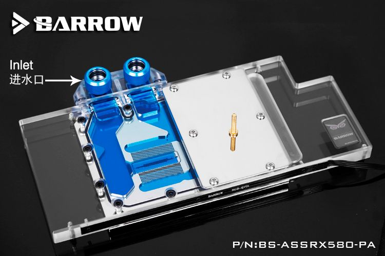 Barrow BS-ASSRX580-PA GPU Water Cooling Block for ASUS ROG Strix RX580/RX480