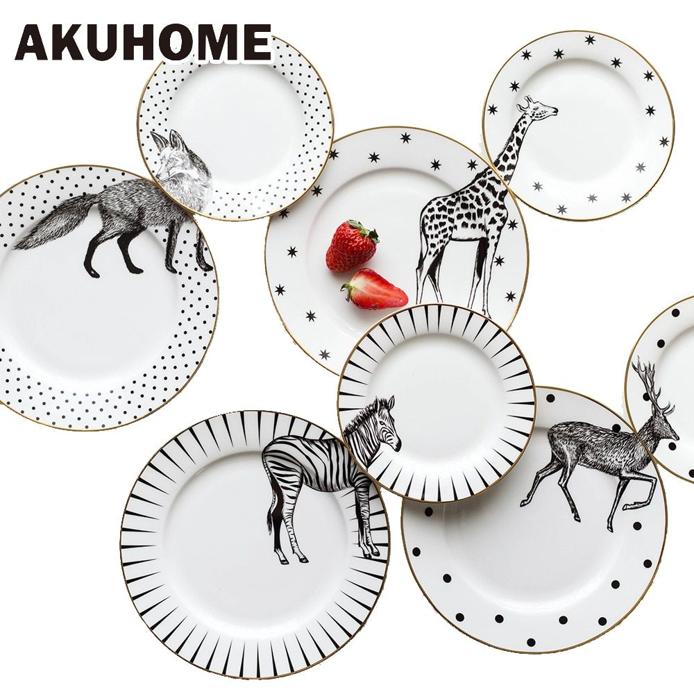 2 Pcs 6&8 Inch Animal <font><b>Combined</b></font> Plates Set Ceramic Plates Fox Elk Giraffe Zebra Pattern Plates Steak Breakfast Cake Fruits Dish
