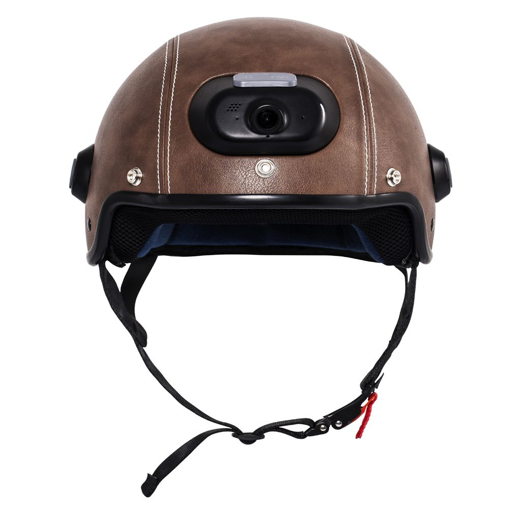 C6 Genuine Leather Helmet with WIFI Camera & Phone Answering, 2K Video Shooting with Free Mobile App Control & Waterproof IP54