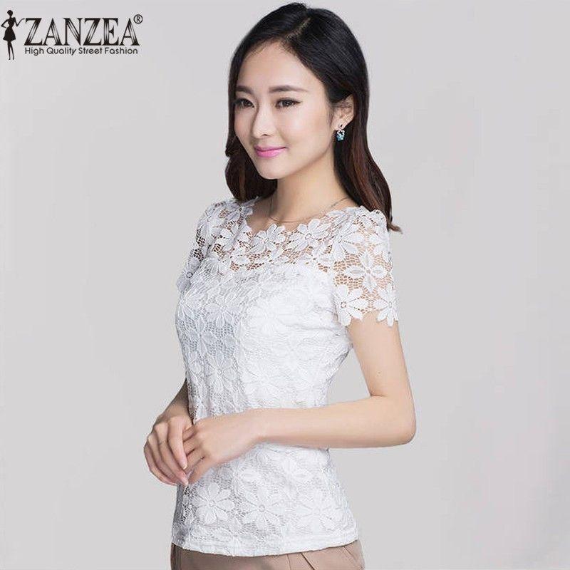 2018 été ZANZEA femmes Sexy Floral dentelle Slim ajusté solide Blouses chemises élégant décontracté à manches courtes Tee hauts Blusas grande taille