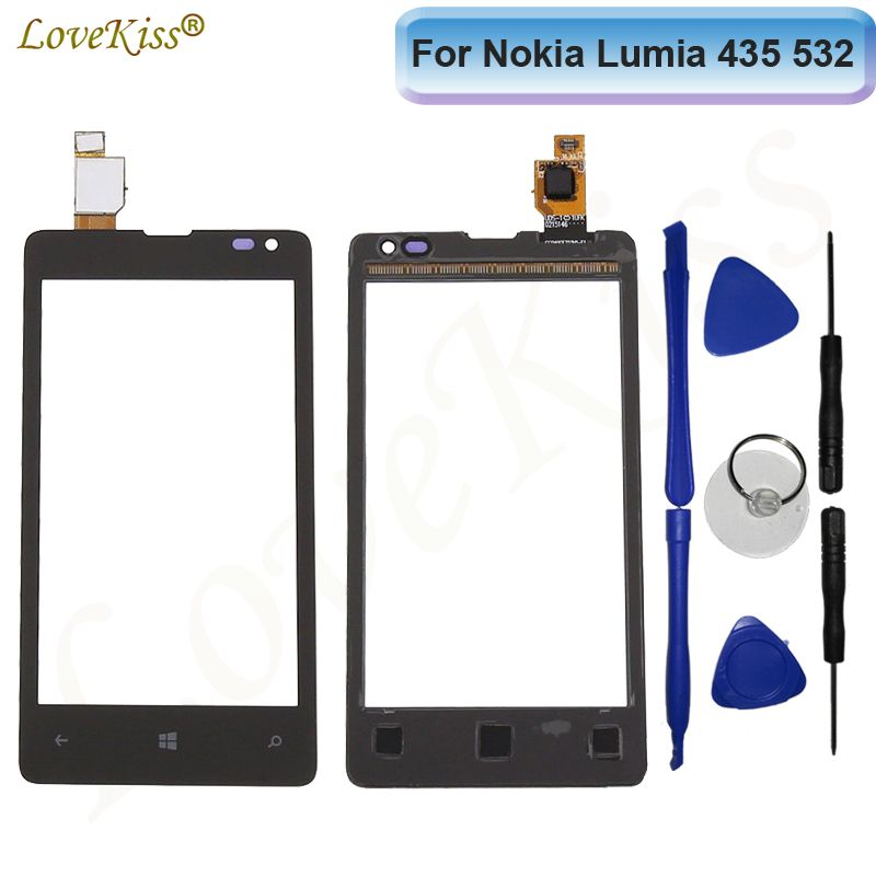 Touchscreen Touch Panel For Nokia Microsoft Lumia 435 532 N435 N532 Touch Screen Sensor LCD Display Digitizer Glass Replacement