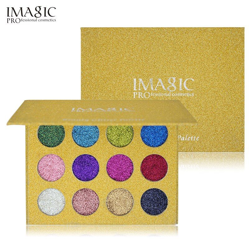 IMAGIC12 Couleur Hautement Pigmentées Diamant Paillettes Ombre À Paupières Palette Flash Fard À Paupières Maquillage Palette