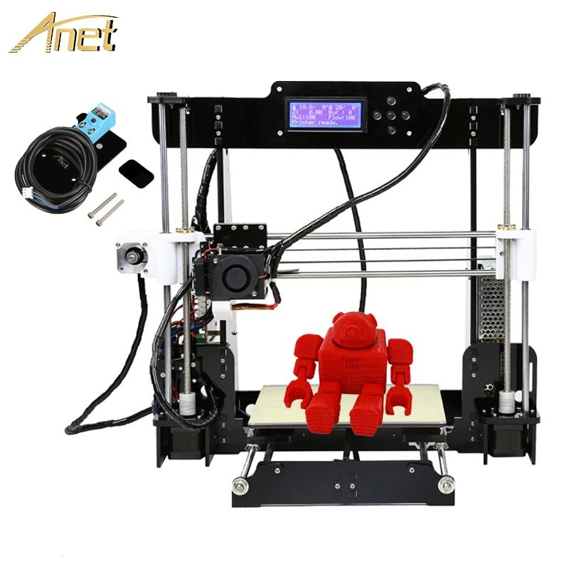 2017 Anet Auto A8 impressora 3d printer Auto leveling Upgrade Reprap i3 3D Printer kit DIY Aluminum Hotbed Free PLA/ABS Filament