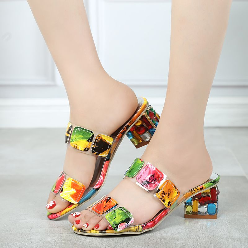 2019 New Summer Women Multi Colors Sandals Fashion High Heels Open Toe Beach Flip Flops Ladies Crystal Heels Shoes Woman XWT1893