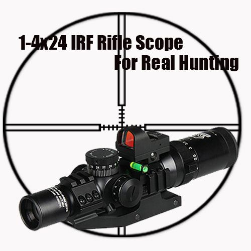 Tactical 1-4x24 IRF RIfle Scope With 1X mini red dot scope and Scope Level Bubble Scope Mount OS1-0292
