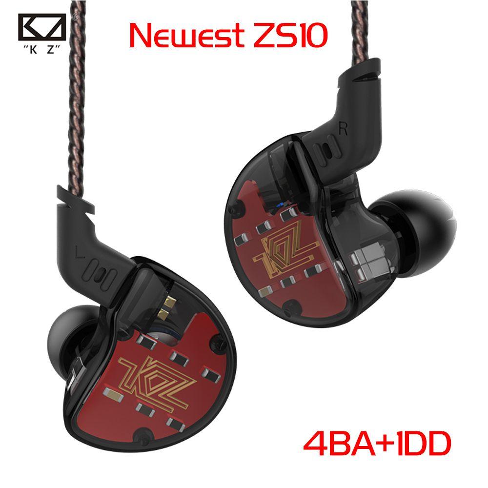 KZ ZS10 4BA+1Dynamic Hybrid In Ear Earphone HIFI DJ Monito Running Sport Earphone 5 Drive Unit Headset Earbud Earphone Pre-sale